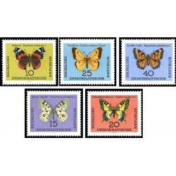 5 عدد تمبر پروانه ها - جمهوری دموکراتیک آلمان 1964 قیمت 11.6 دلار