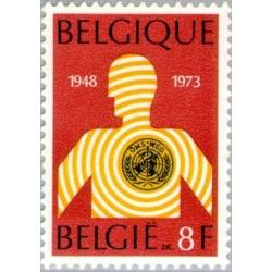 1 عدد تمبر 25مین سالروز سازمان بهداشت جهانی - WHO - بلژیک 1973