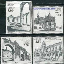 4 عدد تمبر بناهای تاریخی - مکزیکو 1980
