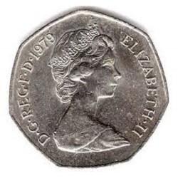 سکه 50 پنس نیکل مس - انگلیس 1979 غیر بانکی