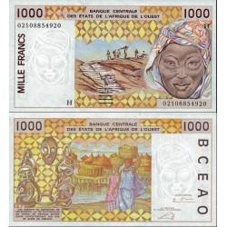 اسکناس 1000 فرانک - آفریقای غربی - نیجر 2002 امضا مطابق توضیح
