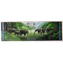 2 عدد تمبر بیستمین سالگرد روابط دیپلماتیک چین با تایلند - فیل-  تایلند 1995