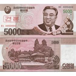 اسکناس 5000 وون - سری وون جدیذ - اسپسیمن - کره شمالی 2008