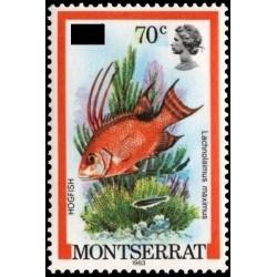 1 عدد تمبر  سری پستی - ماهیها - سورشارژ  - مونتسرت 1981