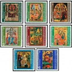 8 عدد تمبر تابلو نقاشی - شمایلهای بلغاری - بلغارستان 1977 قیمت 5.5 دلار