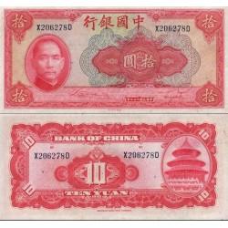 اسکناس 10 یوان - چین 1940  چاپ نیویورک - سفارشی - توضیحات را ببینید