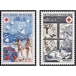 2 عدد تمبر صلیب سرخ  - فرانسه 1974