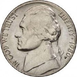 سکه 5 سنت - نیکل مس - آمریکا  1980غیر بانکی
