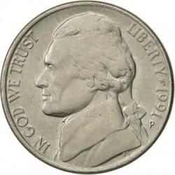 سکه 5 سنت - نیکل مس - آمریکا  1991غیر بانکی