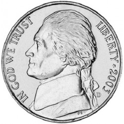 سکه 5 سنت - نیکل مس - آمریکا 2002 غیر بانکی