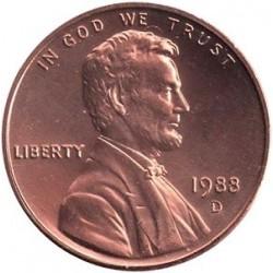 سکه 1 سنت - برنجی - آمریکا 1988غیر بانکی