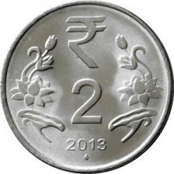 سکه 2 روپیه - فولاد ضد زنگ - هندوستان 2013 غیر بانکی
