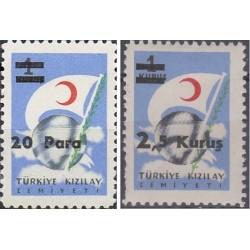 2 عدد تمبر سورشارژ انجمن صلیب سرخ - ترکیه 1956