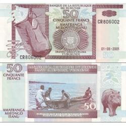 اسکناس 50 فرانک - بروندی 2001
