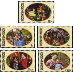 5 عدد تمبر تابلو نقاشی کریستمس - جزایر کوک 1969