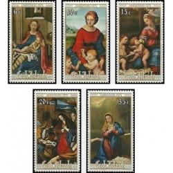5 عدد تمبر تابلو نقاشی کریستمس - جزایر کوک 1975