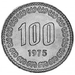 سکه  100 وون  - نیکل مس - کره جنوبی 1975 غیر بانکی