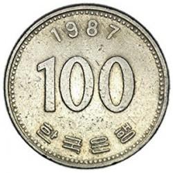 سکه  100 وون  - نیکل مس - کره جنوبی 1987 غیر بانکی
