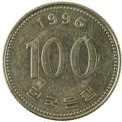 سکه  100 وون  - نیکل مس - کره جنوبی 1996 غیر بانکی