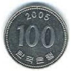 سکه  100 وون  - نیکل مس - کره جنوبی 2005 غیر بانکی
