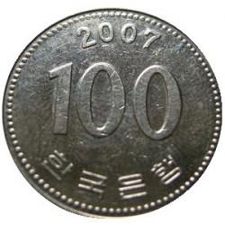 سکه  100 وون  - نیکل مس - کره جنوبی 2007 غیر بانکی
