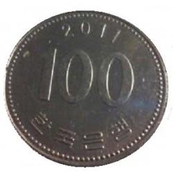 سکه  100 وون  - نیکل مس - کره جنوبی 2011 غیر بانکی