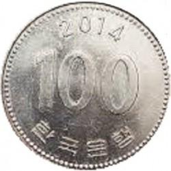 سکه  100 وون  - نیکل مس - کره جنوبی 2014 غیر بانکی
