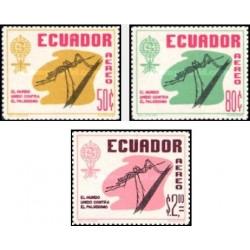 3 عدد تمبر ریشه کنی مالاریا - اکوادور 1963
