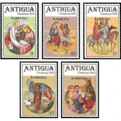 5 عدد تمبر کریستمس - تابلو نقاشی - سورشارژ - باربودا 1976