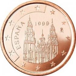 سکه 1 سنت یورو - مس روکش فولاد - اسپانیا 1999 غیر بانکی