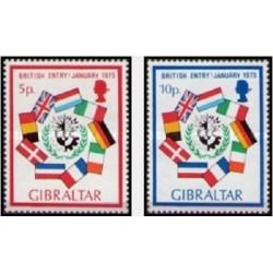 2 عدد تمبر ورود انگلیس به اتحادیه اروپا - جبل الطارق 1973
