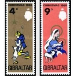 2 عدد تمبر و کریستمس - جبل الطارق 1968