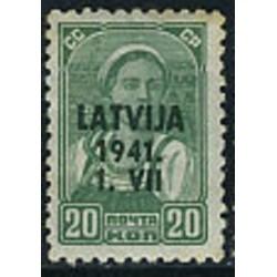 1 عدد تمبر سری پستی - سورشارژ روی تمبرهای شوروی  - لتونی 1941