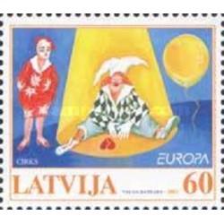 1 عدد تمبر مشترک اروپا - Europa Cept - سیرک - لتونی 2002 قیمت 2.9 دلار
