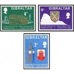 3 عدد تمبرانجمن پارلمانی کشورهای مشترک المنافع - جبل الطارق 1969