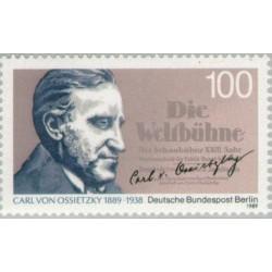 1 عدد تمبر صدمین سال تولد کارل فون اوسیتزکی - ژورنالیست- برلین آلمان 1989