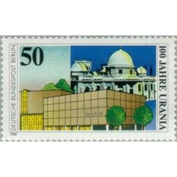 1 عدد تمبر صدمین سال موسسه آموزش عالی اورانیا - با رصدخانه و  افلاک نما - برلین آلمان 1988