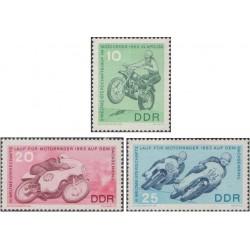 3 عدد تمبر مسابقات جهانی موتور سواری - جمهوری دموکراتیک آلمان 1963 ثیمت 5.8 دلار