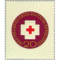 1 عدد تمبر صدمین سالگرد صلیب سرخ بین المللی - برجسته - جمهوری فدرال آلمان 1963