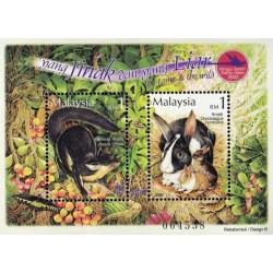 مینی شیت هفته تمبر - حیوانات اهلی و وحشی - مالزی 2002