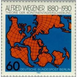 1 عدد تمبر صدمین سالروز تولد آلفرد وگنر - ژئوفیزیست - برلین آلمان 1980