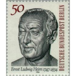 1 عدد تمبر 150مین سال مرگ ارنست لودویک هیم - پزشک - خدمات پزشکی رایگان  - برلین آلمان 1984
