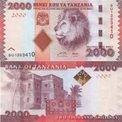 اسکناس 2000 شیلینگ تانزانیا 2010 تک