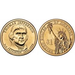 سکه 1 دلار یادبود توماس جفرسون -سومین رئیس جمهوری - آمریکا 2007