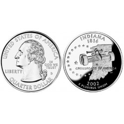 سکه کوارتر - ایالت ایندیانا - آمریکا 2002 غیر بانکی
