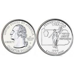 سکه کوارتر - ایالت پنسیلوانیا - آمریکا 1999 غیر بانکی