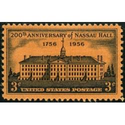 1 عدد تمبر دویستمین سال دانشگاه پرینستون - ناسائو هال - آمریکا 1955