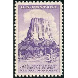 1 عدد تمبر بنای یادبود برج شیاطین - آمریکا 1956