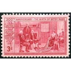 1عدد تمبر 200مین سالگرد تولد بتسی راس -نخستین طراح پرچم آمریکا -1932-1960 -آمریکا 1952
