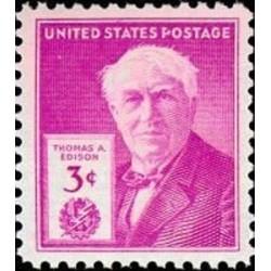 1 عدد تمبر صدمین سالگرد تولد توماس ادیسون - مخترع  - آمریکا 1947